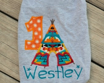 Tribal birthday, Teepee Birthday, Boys First Birthday, Tribal Party, First birthday outfit, Boys birthday shirt Second Birthday tent camping
