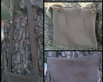 Rustic leather satchel / haversack