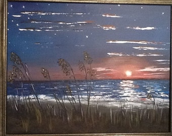 Sunset on Beach Oil Painting