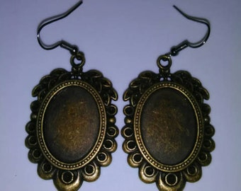 1PC Bronze Picture Frame Earrings
