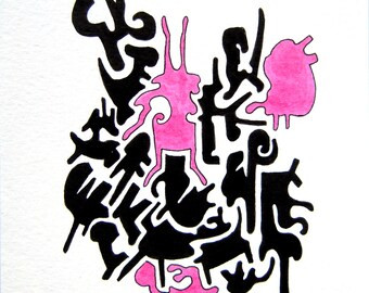 Abtract Forms, Puzzle Forms, Figures,  Drawing, China Ink, Unframed, Original Drawing