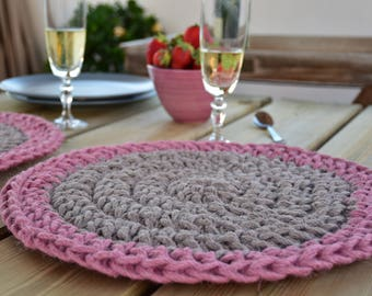 Placemats - Jute Placemats - Rustic Jute placemats - Shallow dish - Crochet placemats - round placemats - round shallow dish - jute