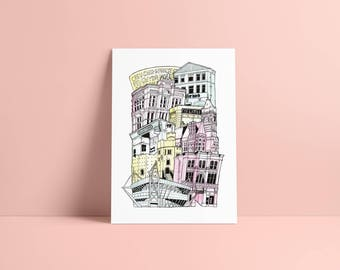Cardiff A3 Illustrated Stacking cityscape print