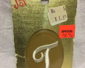 "Vintage Embroidered Iron-On ""T"", 1 1/2  inch"