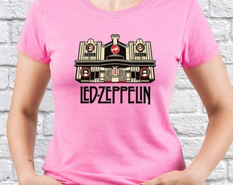Led Zeppelin tshirt/ Rock House/ Jimmy Page/ Robert Plant/ Womens tshirt/ Women shirt/ Rock band tee/ Retro t shirt/ Pink tee shirt/ (LZ03)