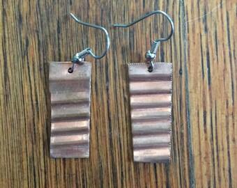 Handmade Copper Wavy Earring