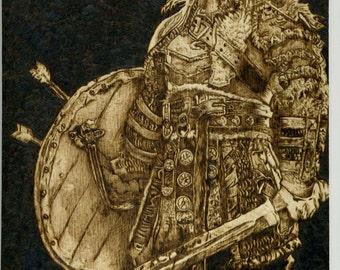 PRINT*Viking Warlord Woodburning