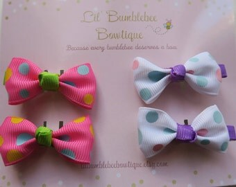 Polka Dot Bowtie Hair Clips Set, Dotted Bow Hair Clips Set for Girls-set of 2 pairs