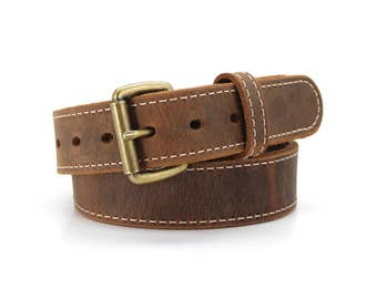 Brown Distressed American Bison Stitched Casual Belt