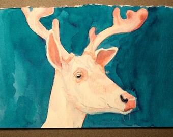 Original Albino Deer Ink Study