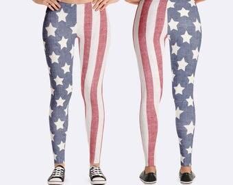 American Flag Leggings, Patriotic Leggings, America Leggings, Memorial Day Leggings, 4th of July Leggings, Independance Day Leggings