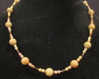 Autumn jasper necklace with czech glass beads and copper