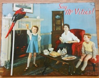 Vintage Tin Advertising Sign 1940's McVities Original Sign Vintage Metal Shop Advert  Macaw Parrot Kitchen Decor Antique Biscuit Advert Sign