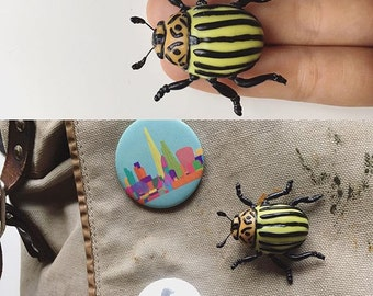 Polymer clay Potato bug brooch pin art piece realistic insect sculpture cute nature love
