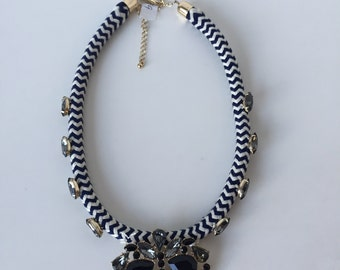 Navy and white rope and bead necklace
