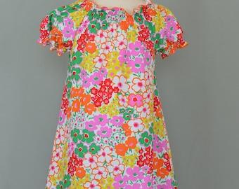Girl's summer dress,Girl's ruffled dress,Flower print dress,Peasant style dress