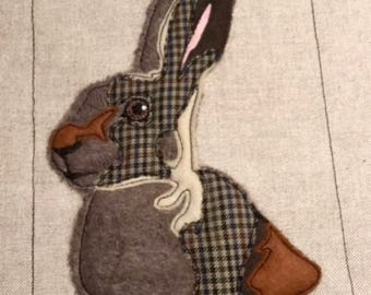 ITH Hare Embroidery Pattern. Raw Edge Applique Hare, Free motion embroidery design of a Rabbit - In-The-Hoop project by Pixie Willow Pattern