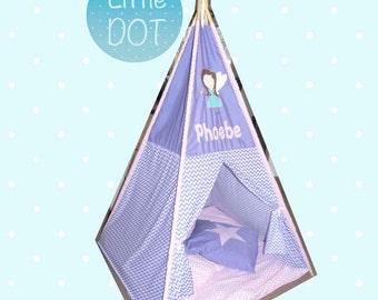 Fairy Teepee //Personalised with your Childs Name // Handmade Teepee // Girlie Teepee
