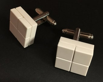 Lego cuff links - White on White Checkers