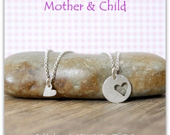 Mother & daughter necklace - heart - handmade 925 Silver