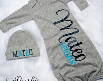 Baby Boy Coming Home Outfit, Grey Baby Boy Gown, Baby Boy Hospital Outfit, Blue Baby Outfit, Baby Shower Gift for Boy, Boy Gown & Hat P25