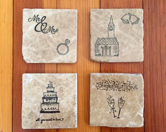 Wedding Coasters - Engagement Coasters - Love Coasters - Set of Natural Stone Coasters - Set of Tumbled Marble Coasters - Stamped Coasters