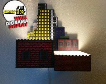 Wall Diorama Display // Rooftop City Skyline