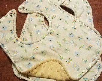Minky and Flannel Baby Bibs Gender Neutral
