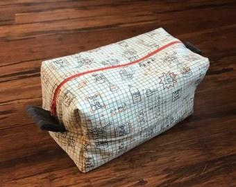 costmetic bag - toiletry bag - makeup bag - toy storage - box bag - pencil case