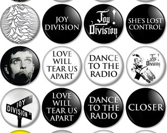 Joy Division and Factory Records 25mm (1 inch) Pin Button Badges 99p Ian Curtis Hacienda Unknown Pleasures Love Will Tear Us Apart