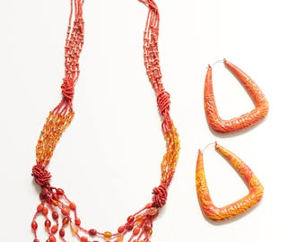 Red Orange Necklace Set, Glass Beaded, Hot, Sunset, Statement, Earrings, Wear with Denim