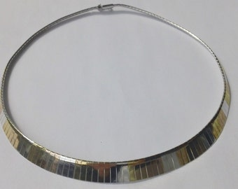 Elegant Sterling Silver/14Kt (545) Modernist Articulated Choker Necklace FREE DOMESTIC SHIPPING