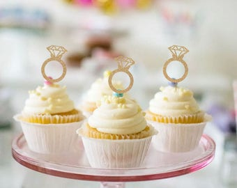 Engagement Ring Cupcake Toppers - Set of 12 - for Engagement Party, Bridal, Wedding, Bachelorette Party - Gold Glitter Cupcake Toppers