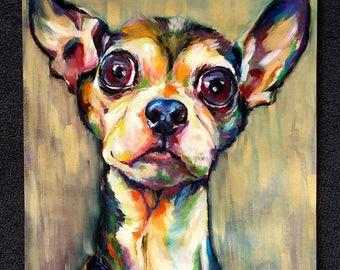 Wide Eyed Wonder - original dog portrait oil painting