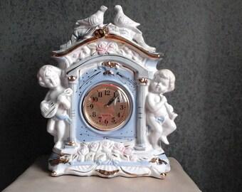 Vintage Porcelain Cherub Mantel Clock
