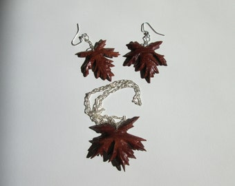 Maple Leaf Necklace and Earring Set