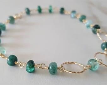 Emerald And Gold Bracelet, Natural Emerald, Emerald Bracelet, Emerald Jewelry, Link Bracelet, Gold Filled Bracelet, Delicate Bracelet