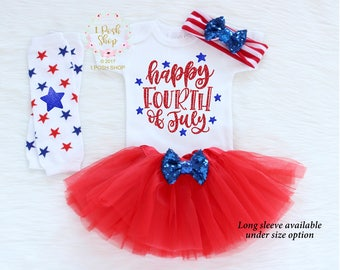 Happy Fouth Of July, 4h Of July Baby Girl, July 4th Baby Girl Outfit, My First 4th Of July Outfit Girl, 4th of July Top, Baby Headband HJ17