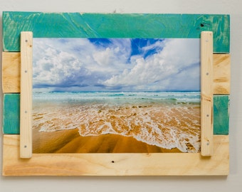 Turquoise frame rustic recycled pine pallets, white with shabby effect, handmade