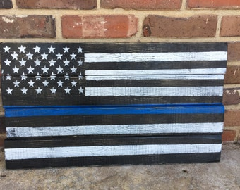 Distressed thin blue line flag