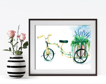 Bicycle Wall Art, Watercolor, Wall Art, Digital Print