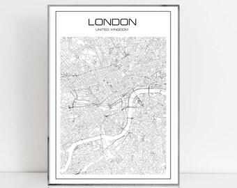 London map print  London city map UK art London art London Decor London Map Print map of London London city instant art Black and White Map