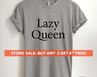 Lazy Queen T-shirt, Ladies Crewneck Heather Shirt, Funny Ladies Nap T-shirt, Short & Long Sleeve T-shirt
