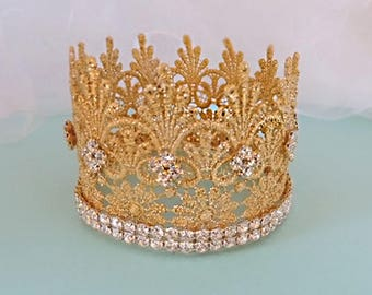 Lace Crown in Gold  - with Rhinestone - Baby lace- Crown -Special - Mini Crown-C-005
