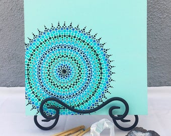 turquoise sea dot mandala painting
