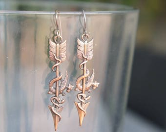 Arrow with Dragon and Snake Earrings French Brass Antique Vintage Style