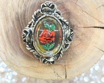 Vintage Hand-painted Rose Brooch