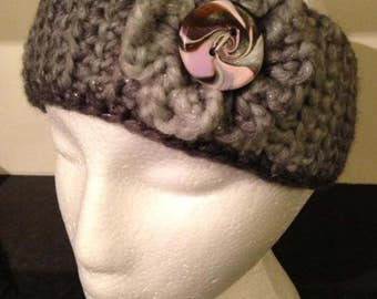 Ear Warmer with Flower and Handmade Button
