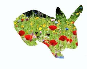 Bunny/Rabbit Floral Printable - 4x6