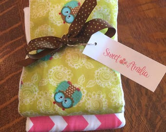 Sweet Amelia Baby Girl Cotton Burp Cloth Set of Two